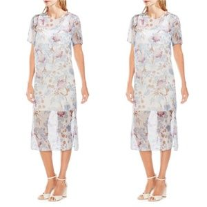 Vince Camuto Poetic Blooms Sheer Overlay Dress